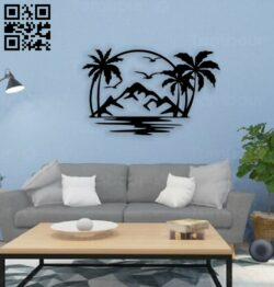 Palm tree wall decor E0014751 file cdr and dxf free vector download for laser cut plasma