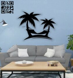 Palm trees wall decor E0014577 file cdr and dxf free vector download for laser cut plasma