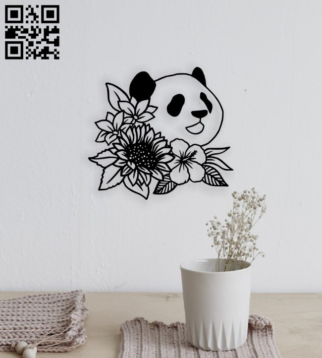 Panda with flower E0014545 file cdr and dxf free vector download for laser cut