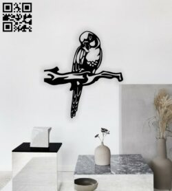 Parrot on a branch wall decor E0014649 file cdr and dxf free vector download for laser cut plasma