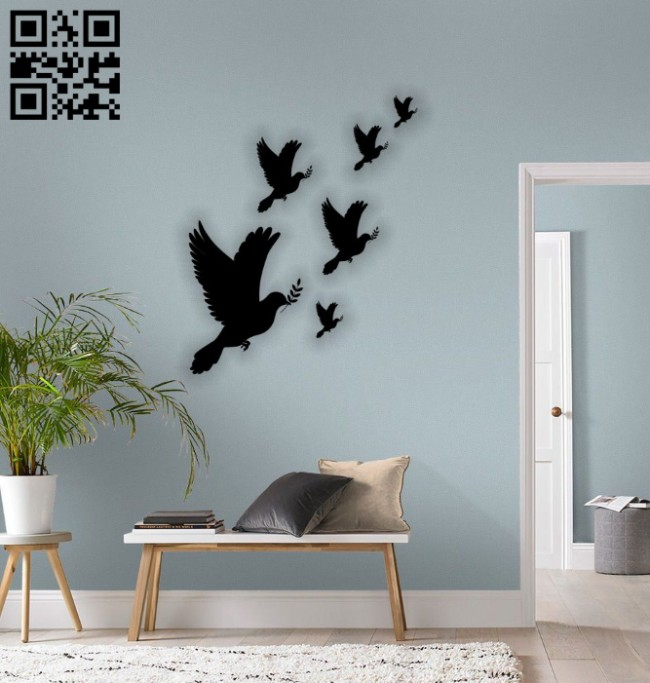 Pigeon wall decor E0014492 file cdr and dxf free vector download for laser cut plasma