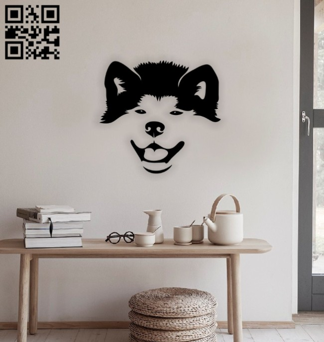Puppy dog head wall decor E0014622 file cdr and dxf free vector download for laser cut plasma