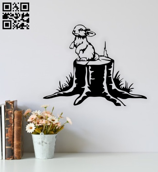 Rabbit on a tree stump wall decor E0014765 file cdr and dxf free vector download for laser cut plasma