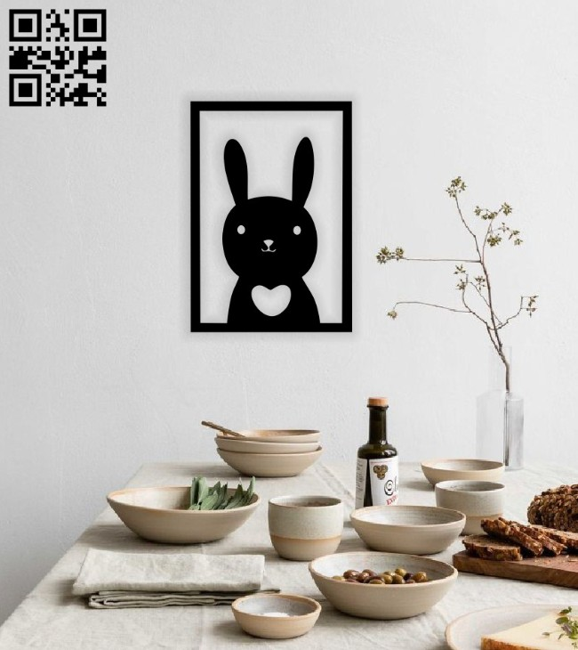 Rabbit wall decor E0014788 file cdr and dxf free vector download for laser cut plasma