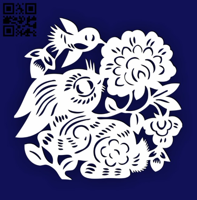 Rabbit with bird E0014493 file cdr and dxf free vector download for laser cut