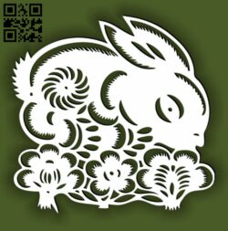 Rabbit with flower E0014496 file cdr and dxf free vector download for laser cut
