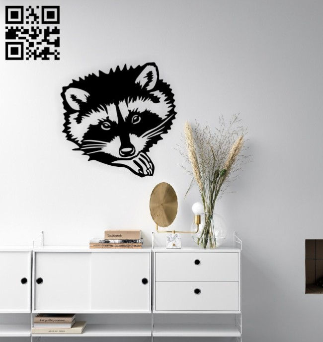 Raccoon wall decor E0014850 file cdr and dxf free vector download for laser cut plasma