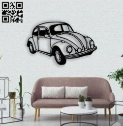 Retro car wall decor E0014525 file cdr and dxf free vector download for laser cut plasma