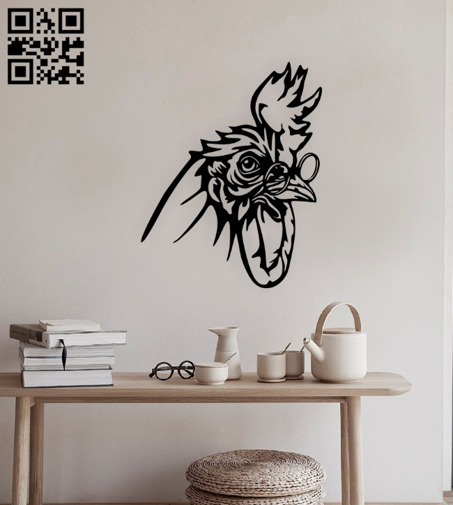 Rooster wall decor E0014815 file cdr and dxf free vector download for laser cut plasma