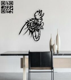 Rooster with glass wall decor E0014716 file cdr and dxf free vector download for laser cut plasma