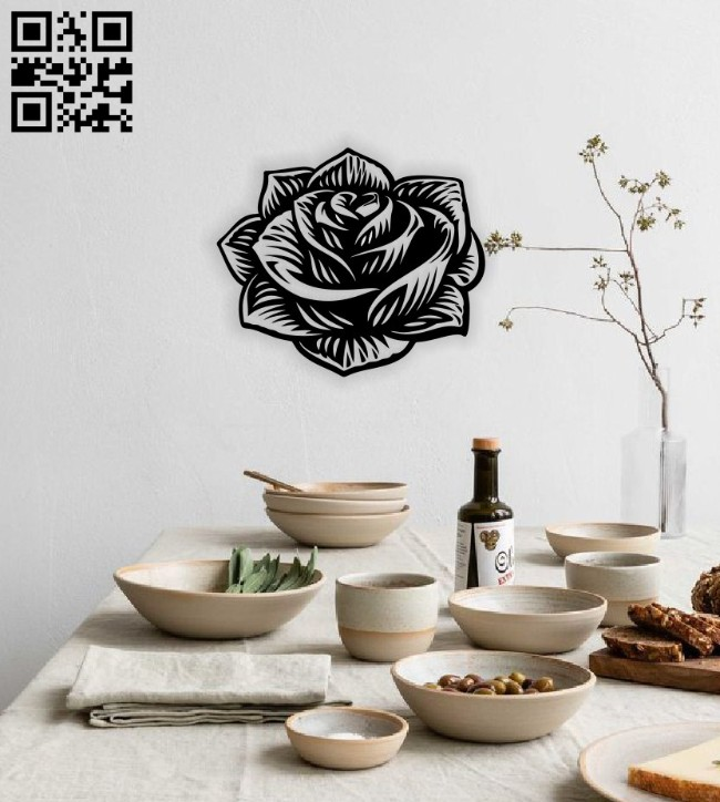 Rose wall decor E0014605 file cdr and dxf free vector download for laser cut plasma