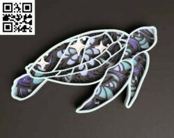 Sea turtle E0014658 file cdr and dxf free vector download for laser cut