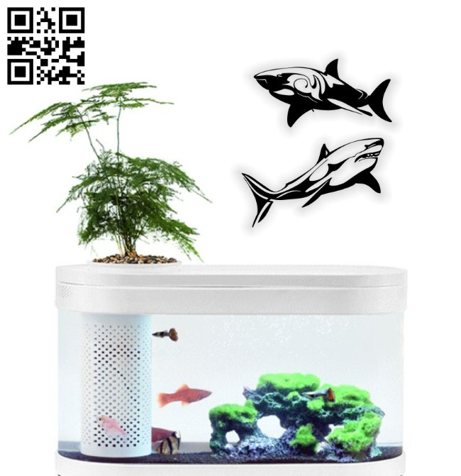 Sharks wall decor E0014601 file cdr and dxf free vector download for laser cut plasma