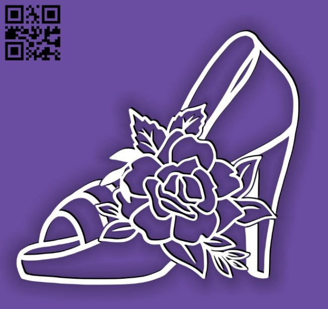 Shoe with flower E0014542 file cdr and dxf free vector download for laser cut
