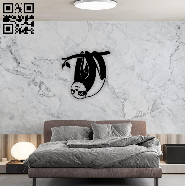Sloth wall decor E0014556 file cdr and dxf free vector download for laser cut plasma