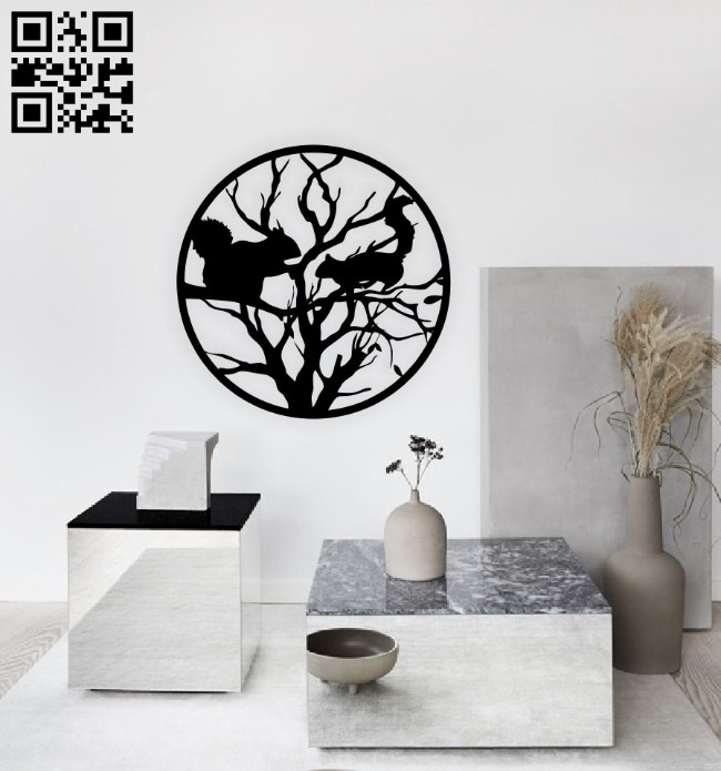 Squirrels on branch wall decor E0014713 file cdr and dxf free vector download for laser cut plasma