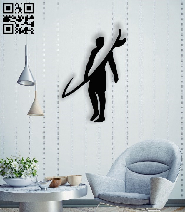 Surf man wall decor E0014508 file cdr and dxf free vector download for laser cut plasma
