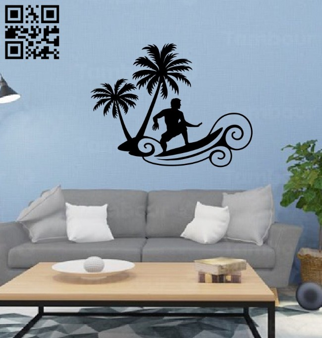Surfing wall decor E0014641 file cdr and dxf free vector download for laser cut plasma