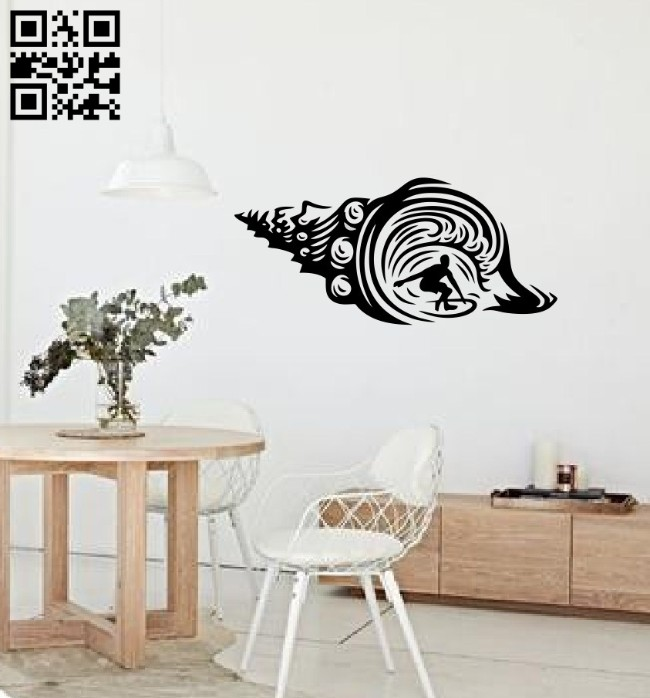 Surfing with seashell E0014642 file cdr and dxf free vector download for laser cut plasma
