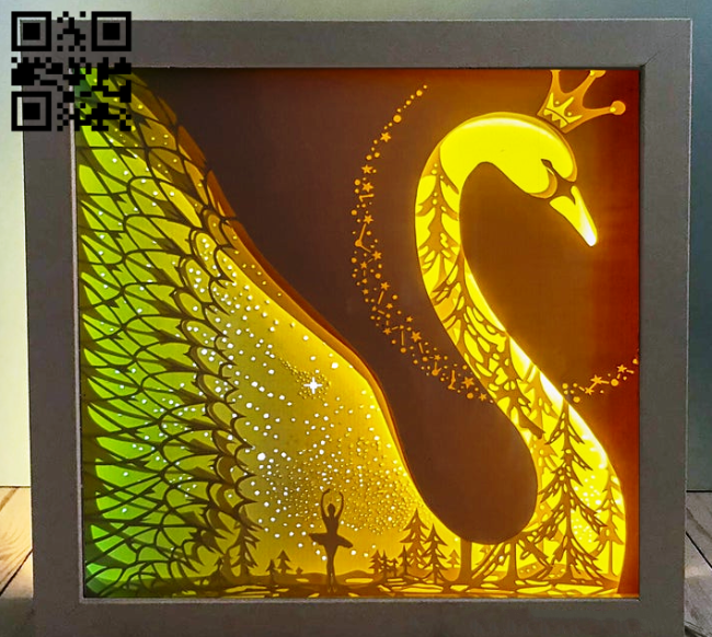 Swan light box E0014572 file cdr and dxf free vector download for laser cut