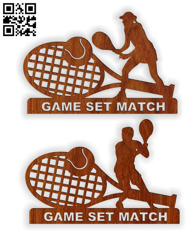 Tennis trophy E0014757 file cdr and dxf free vector download for laser cut
