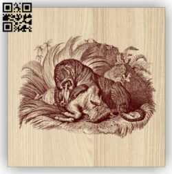 Tiger with prey E0014776 file cdr and dxf free vector download for laser engraving machine