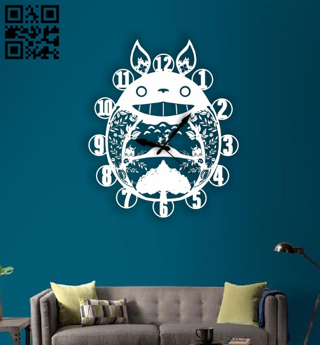 Totoro clock E0014703 file cdr and dxf free vector download for laser cut