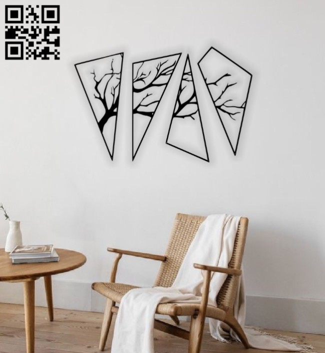 Tree wall decor E0014637 file cdr and dxf free vector download for laser cut plasma