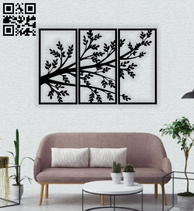Tree wall decor E0014744 file cdr and dxf free vector download for laser cut plasma