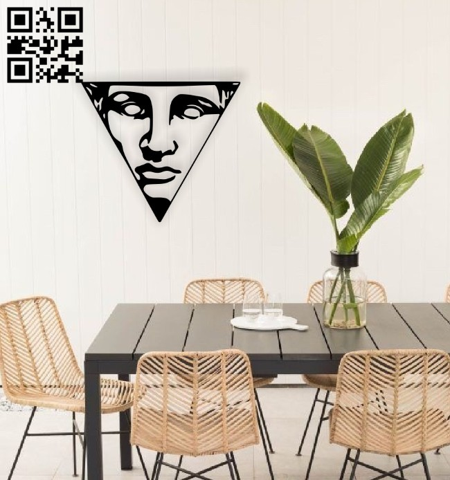 Triangle face wall decor E0014548 file cdr and dxf free vector download for laser cut plasma