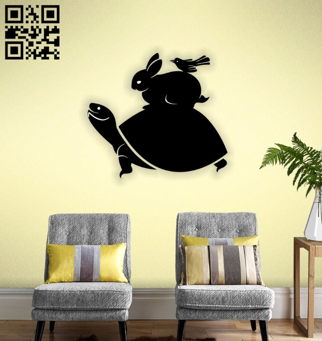 Turtle rabbit bird wall decor E0014551 file cdr and dxf free vector download for laser cut plasma