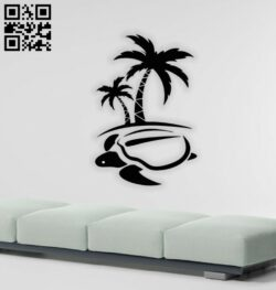 Turtle with coconut wall decor E0014553 file cdr and dxf free vector download for laser cut plasma