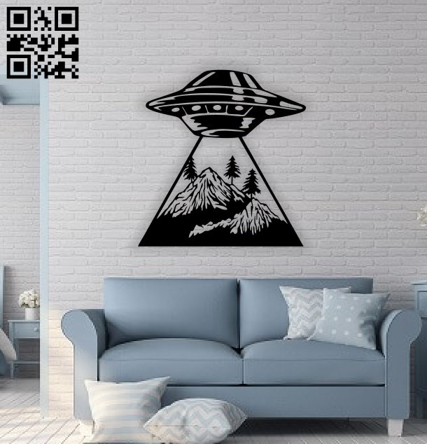 UFO wall decor E0014747 file cdr and dxf free vector download for laser cut plasma