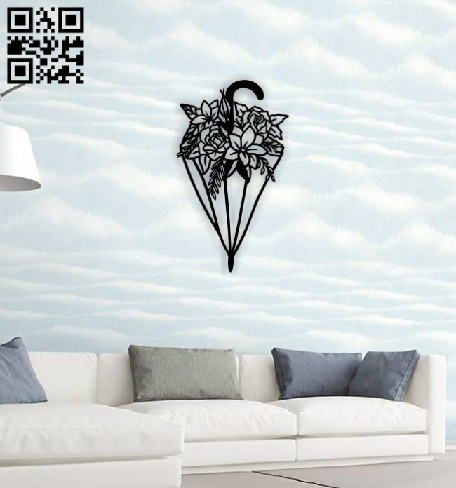 Umbrella with flower wall decor E0014527 file cdr and dxf free vector download for laser cut plasma