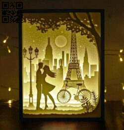 Valentine in Paris light box E0014570 file cdr and dxf free vector download for laser cut