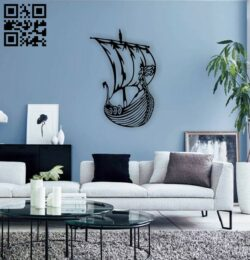 Viking ship wall decor E0014748 file cdr and dxf free vector download for laser cut plasma
