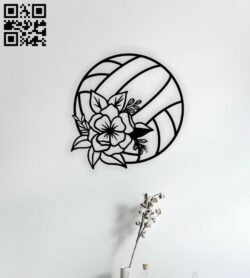 Volleyball with flower E0014544 file cdr and dxf free vector download for laser cut