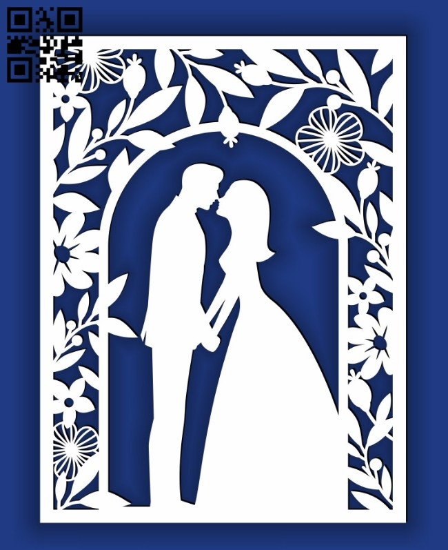 Wedding card E0014538 file cdr and dxf free vector download for laser cut