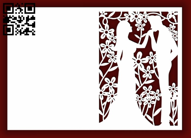 Wedding card E0014540 file cdr and dxf free vector download for laser cut
