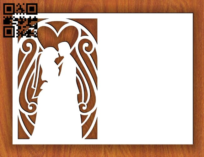 Wedding card E0014631 file cdr and dxf free vector download for laser cut