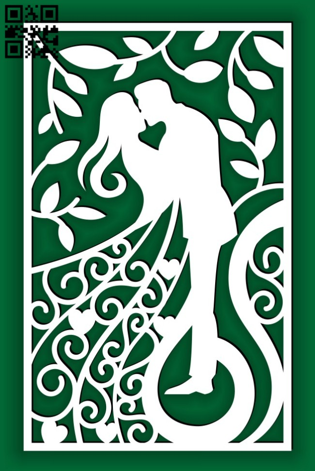 Wedding card E0014633 file cdr and dxf free vector download for laser cut