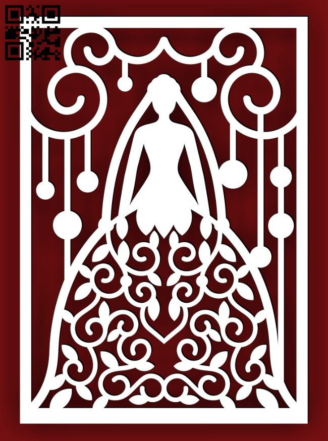Wedding card E0014634 file cdr and dxf free vector download for laser cut
