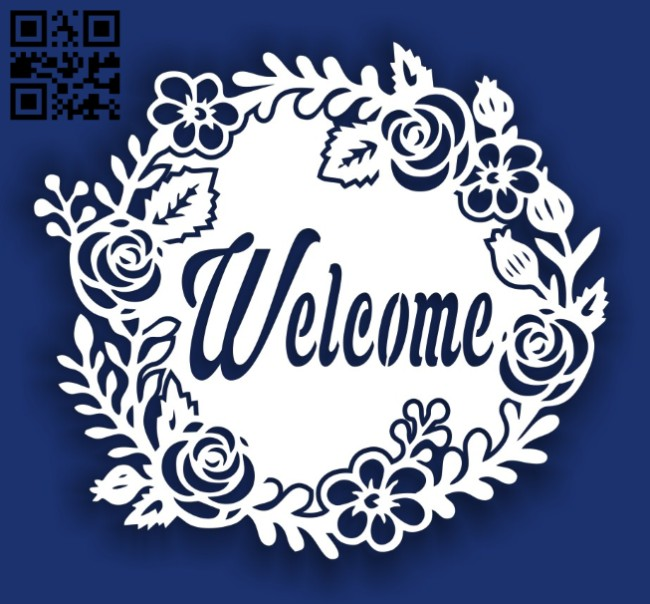 Welcome floral E0014498 file cdr and dxf free vector download for laser cut