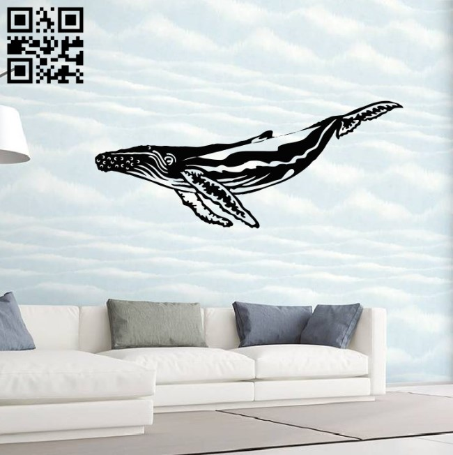 Whale wall decor E0014523 file cdr and dxf free vector download for laser cut plasma