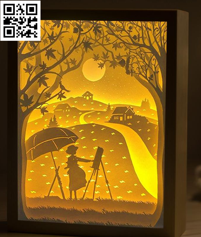Wind rises light box E0014818 file cdr and dxf free vector download for laser cut