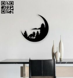 Wolf with moon E0014584 file cdr and dxf free vector download for laser cut plasma