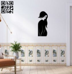 Woman long hair E0014640 file cdr and dxf free vector download for laser cut plasma
