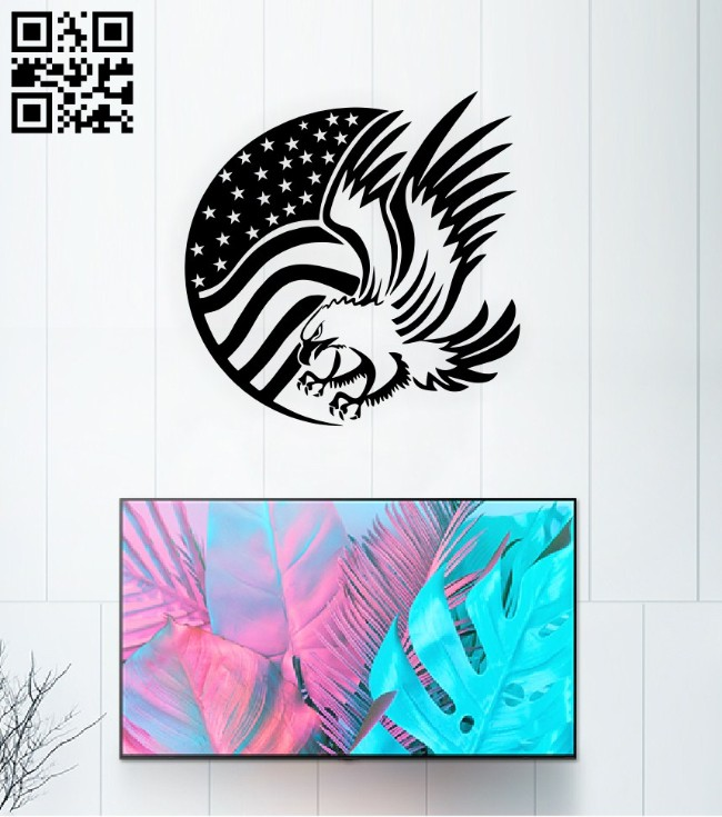 American eagle flag E0015055 file cdr and dxf free vector download for laser cut plasma