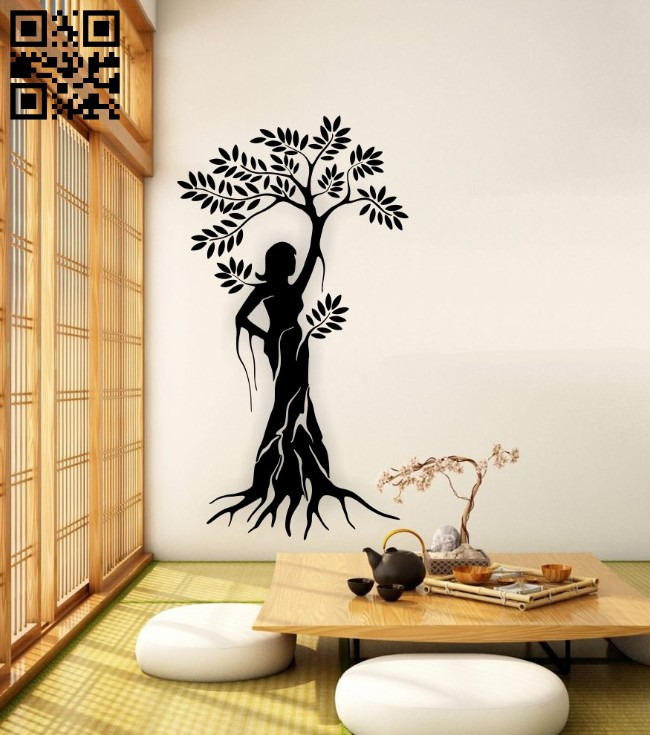 Beautiful women tree wall decor E0015061 file cdr and dxf free vector download for laser cut plasma