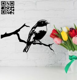 Bird on a tree branch wall decor E0014875 file cdr and dxf free vector download for laser cut plasma